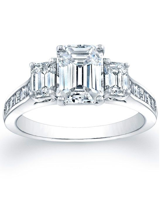three emerald cut engagement ring with square