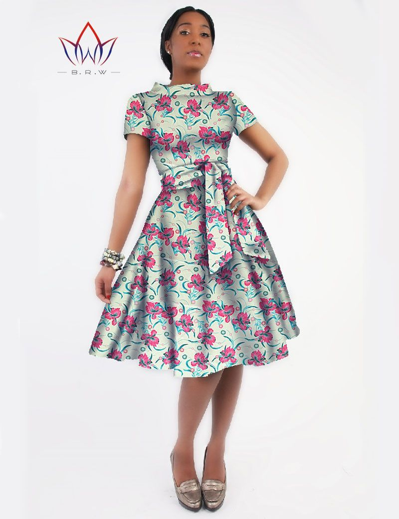 New Women Dress Sashes Jurken Brand Clothing African Print Dress Party  Dresses Plus Size Women Clothing