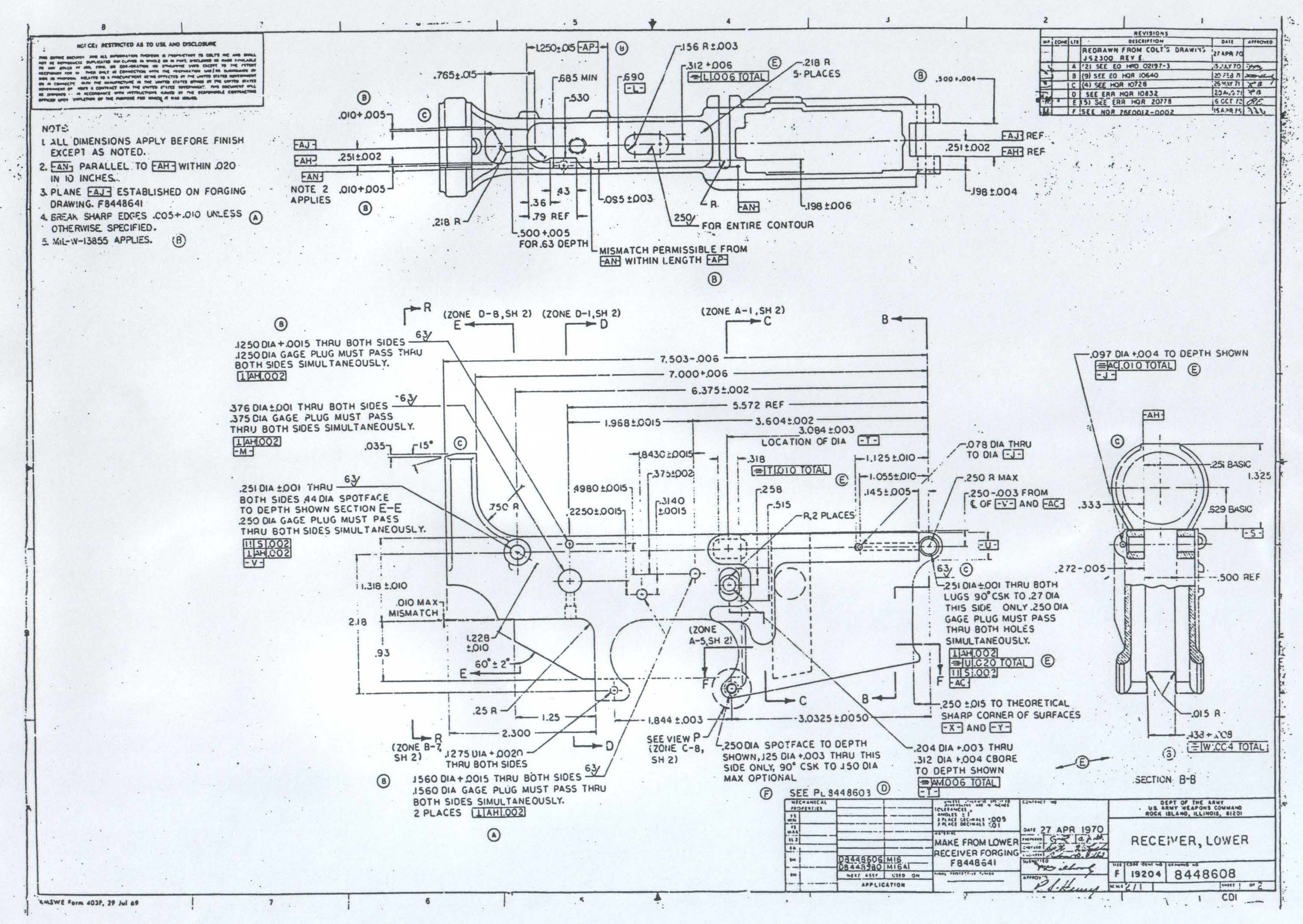 Original army ordinance department blueprints for the ar 15 lower original army ordinance department blueprints for the ar 15 lower reciever malvernweather Choice Image