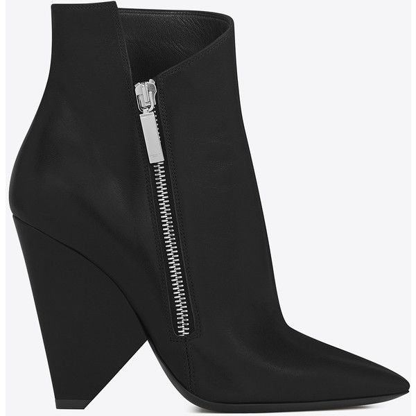 Saint Laurent Niki 105 Asymmetrical Ankle Boot 920  liked on Polyvore  featuring shoes