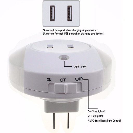 LED Night Light Auto Sensor Control Plug-In Socket Wall Lamp Lighting Bedroom