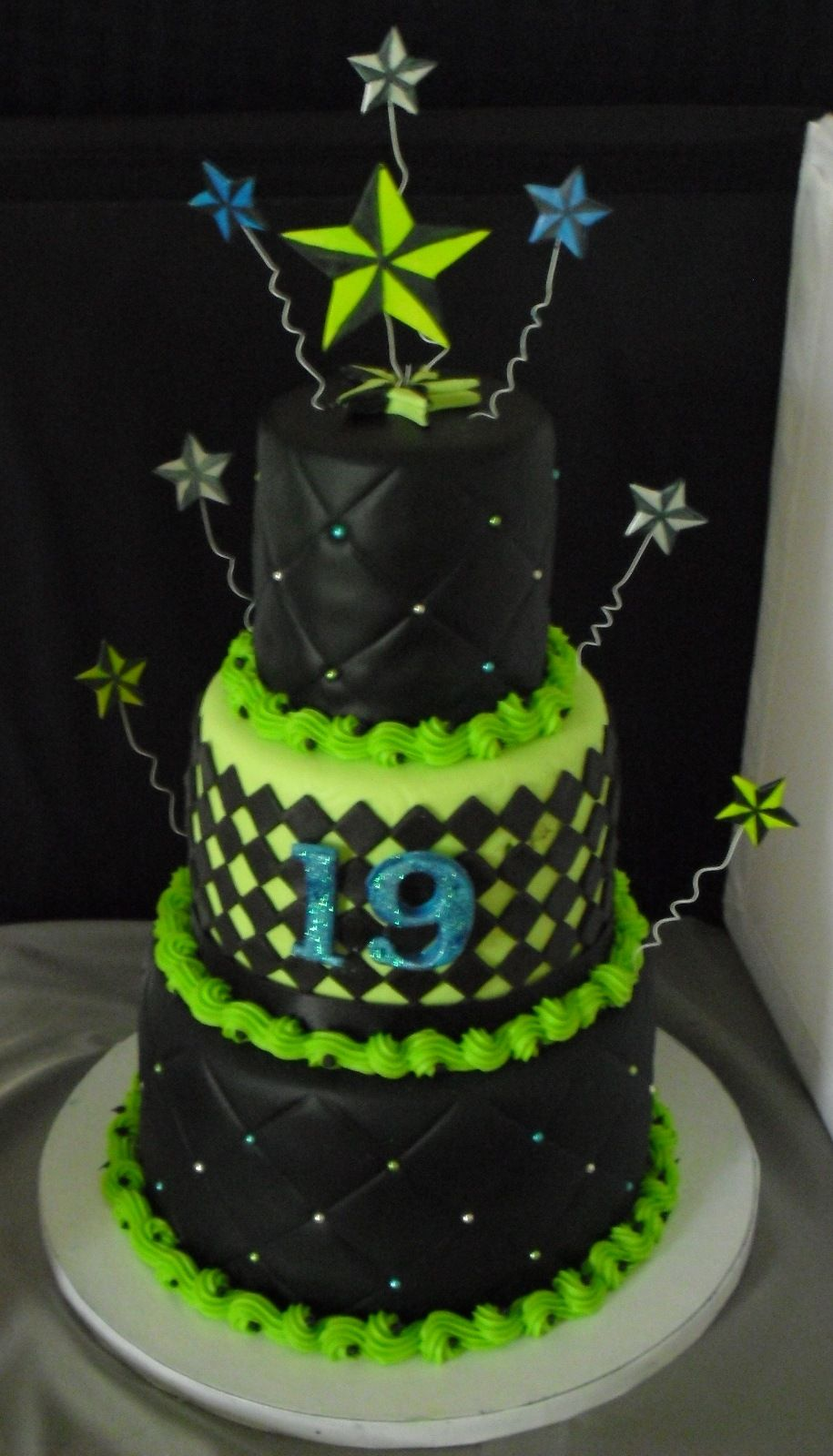 Nautical Star Cake Lime Green And Black Fondant With Blue Silver Hand Painted Stars