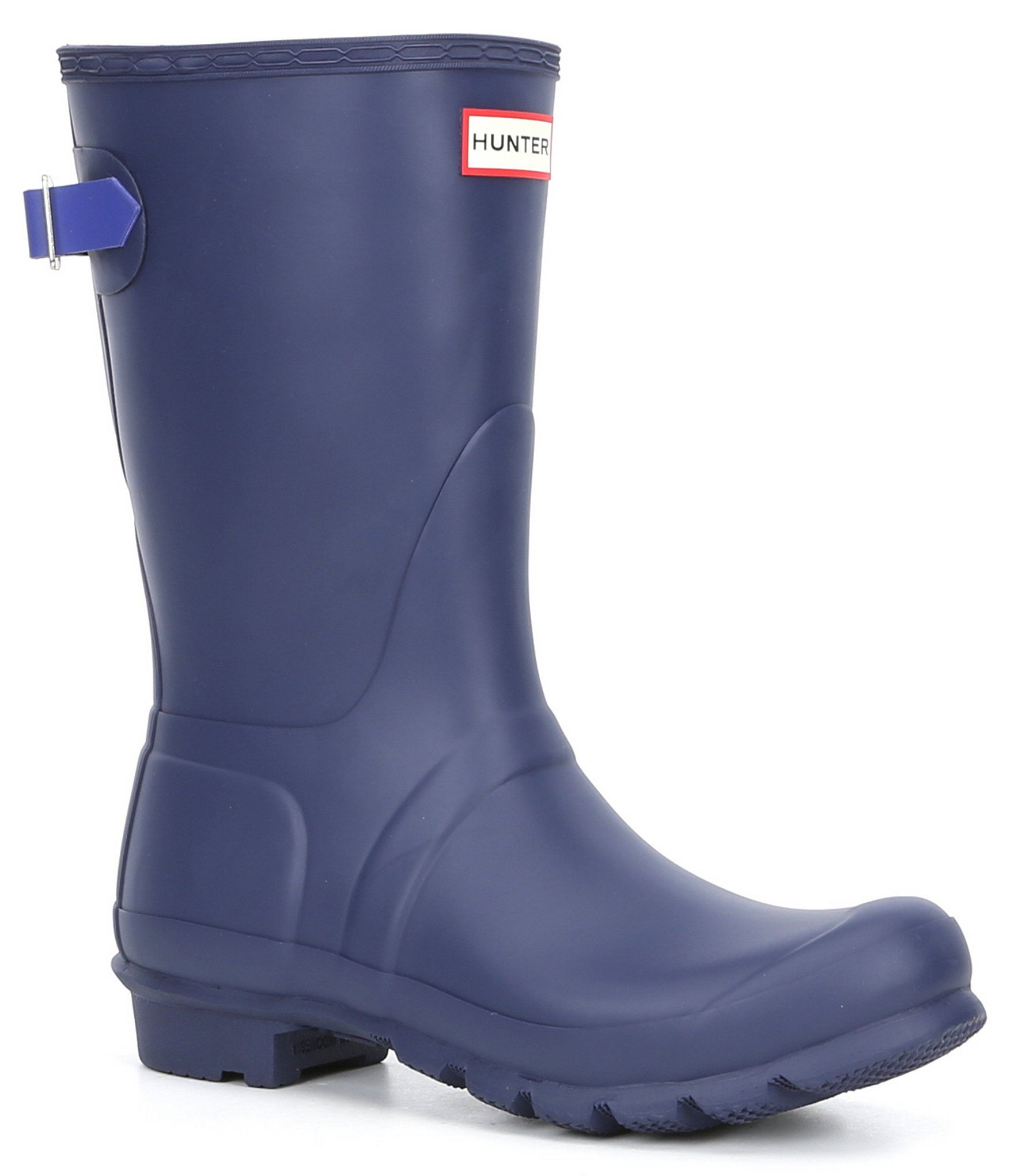 Hunter Original Short Adjustable Back Matte Rain Boots - Melody Electric Storm 9M