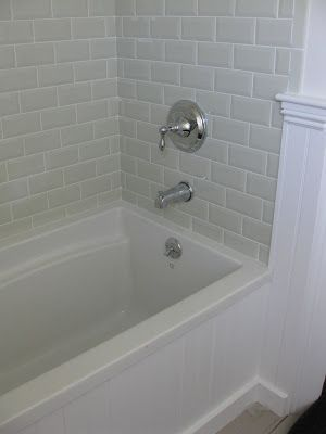 9x12 White Subway Tile Shower Love The Wainscoting On