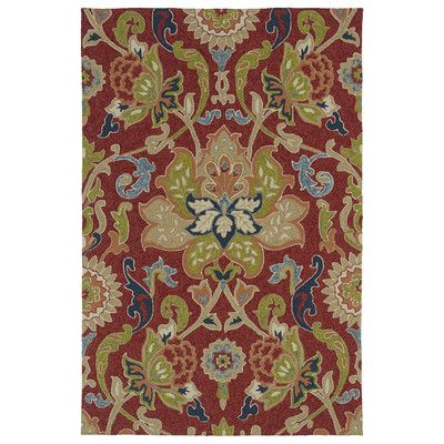 Kaleen Home and Porch Red Floral and Plants Indoor/Outdoor Area Rug & Reviews | Wayfair