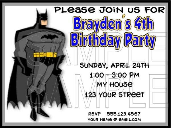 Batman Birthday Invitation Templates Free