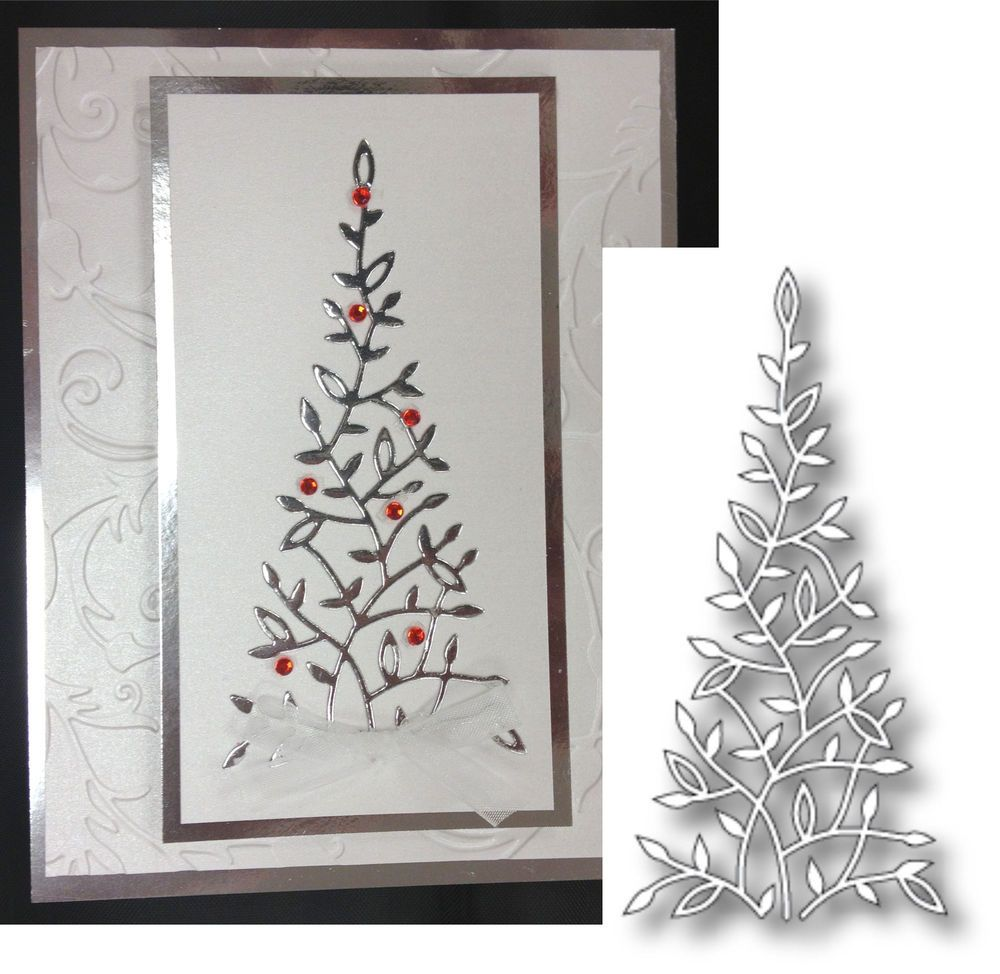 Elyse Christmas Tree Die By Memory Box 98667 Elegant Tree Metal Die For Holiday Memorybo Boxed Christmas Cards Homemade Holiday Cards Christmas Holiday Cards