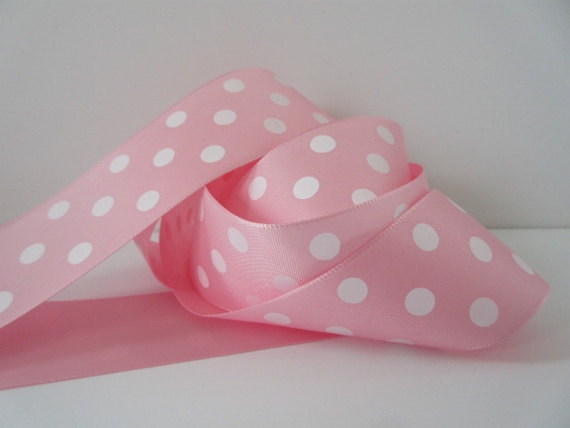 Pink Polka Dot Ribbon Taffeta 1 1/2 inch wide by DanJSupplies