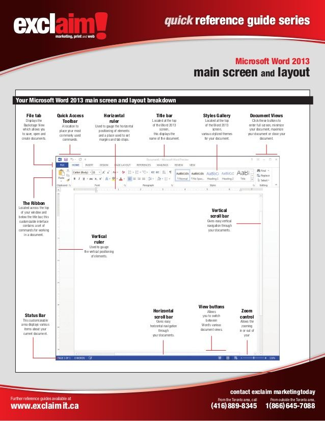 Quick Reference Guide Series Microsoft Word  Main Screen And