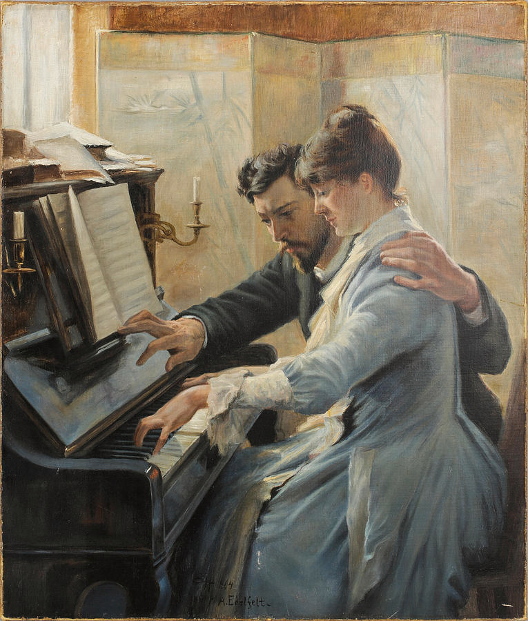 Piano Lesson By Albert Edelfelt In 2020 Romantic Art Art Painting Piano Art