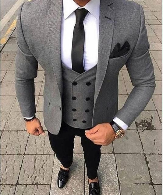 Suit Men's Three Piece Suit Bespoke Grey Suit