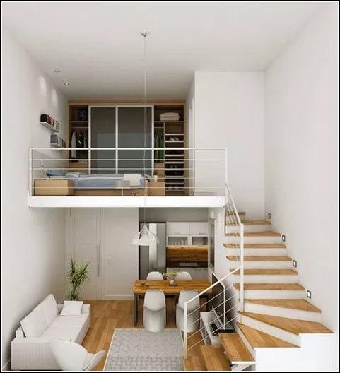 140 Stunning Tiny House Interior Design Ideas 19 Myhomeku Com Small Loft Apartments Loft Bedroom Decor Home Interior Design
