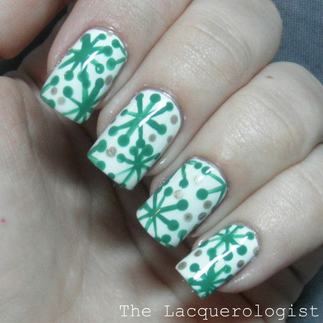 The Lacquerologist: Holiday Nail Art: Festive Green Design!