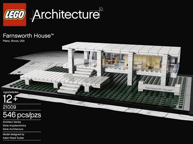 Ludwig Mies van der Rohe Farnsworth House in Lego | Modern Design Must have it myself. Best buy for the Ludwig Mies van der Rohe fan and the architect nerd! Farnsworh House Lego 21009. Lego Architecture.