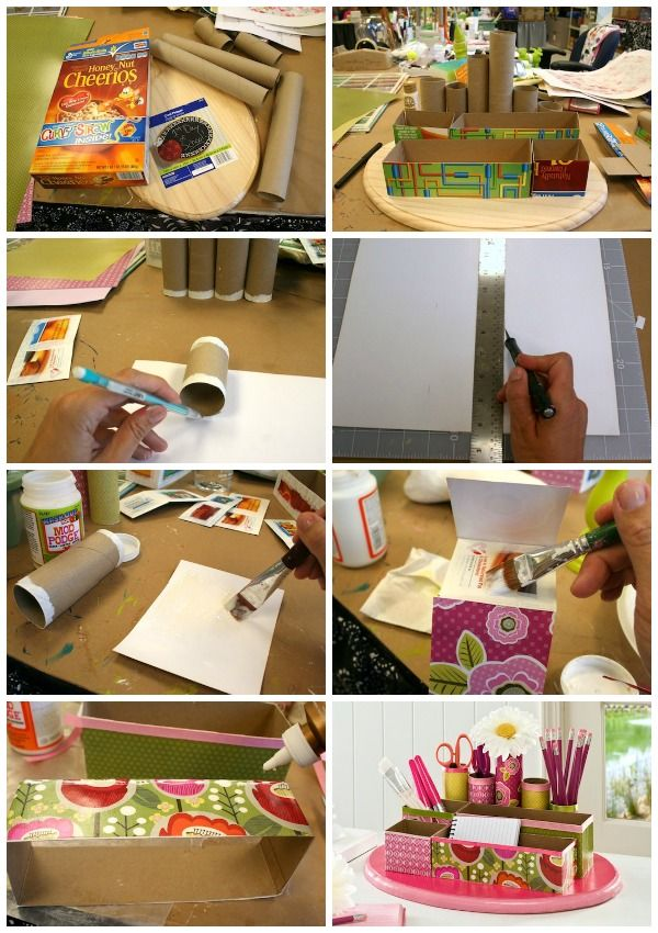 Recycled craft diy desk organizer toilet paper rolls for What type of cardboard are cereal boxes made of