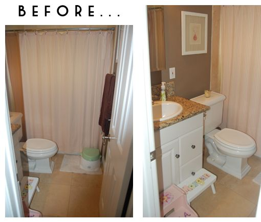 Small Bathroom Makeover...these are just the before pictures, click to see the after pics
