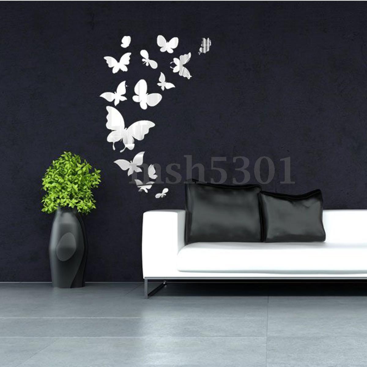 Diy d mirror fairy star butterfly acrylic removable home decor art