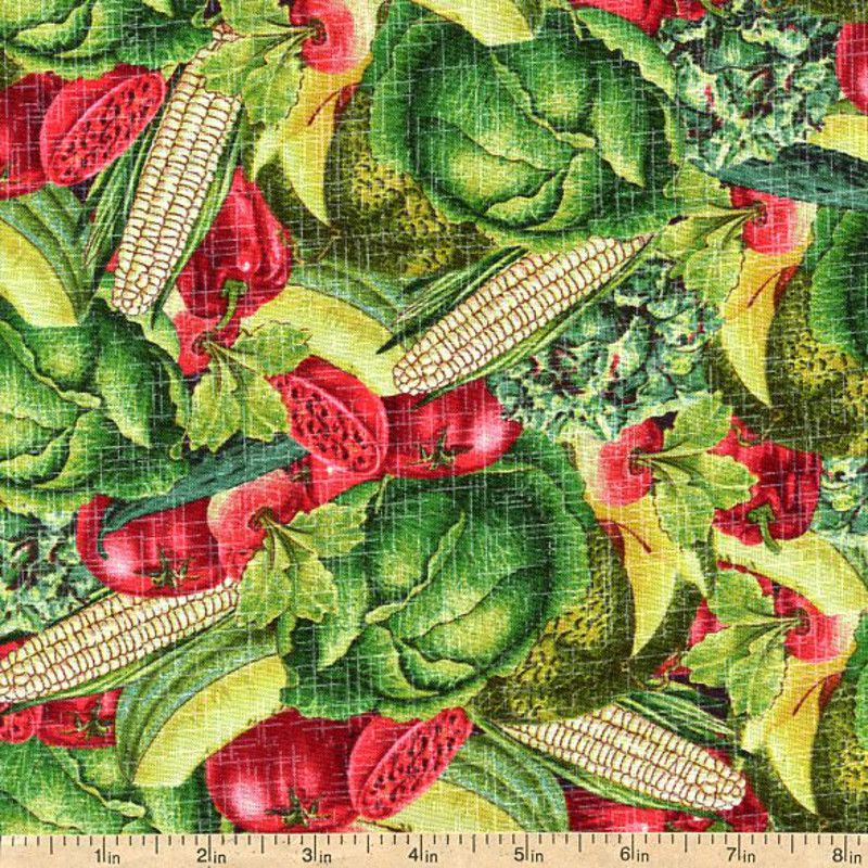 Farm Stand Packed Produce Cotton Fabric - Green by Beverlys.com