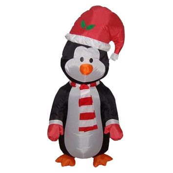 BZB Goods 4\u0027 Christmas Inflatable Cute Standing Penguin #NotABox - christmas blow up decorations