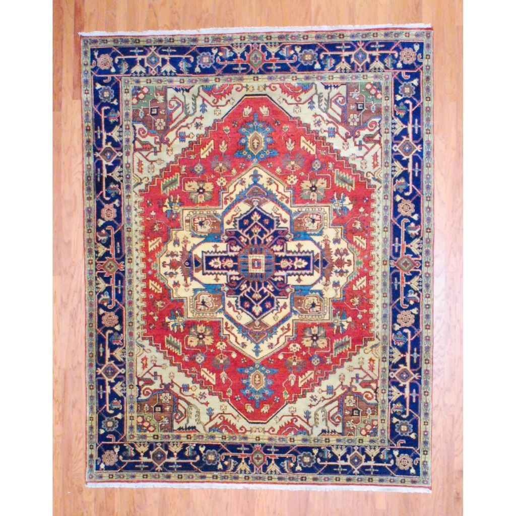 Herat oriental indo hand knotted heriz red navy wool rug for Red and navy rug