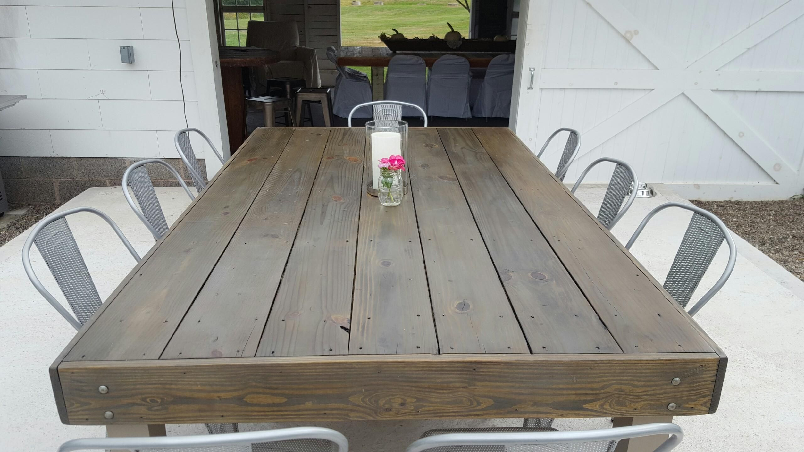 Diy Outdoor Table stained with minwax early American and