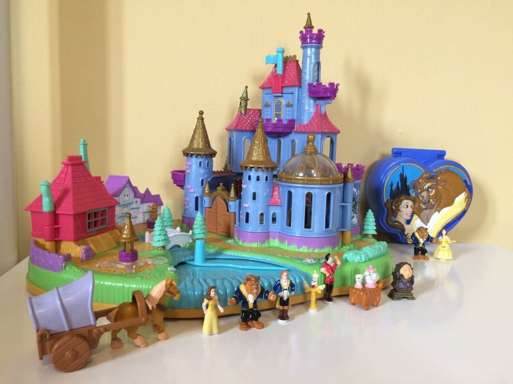 disney beauty & the beast castle & compact polly pocket bundle