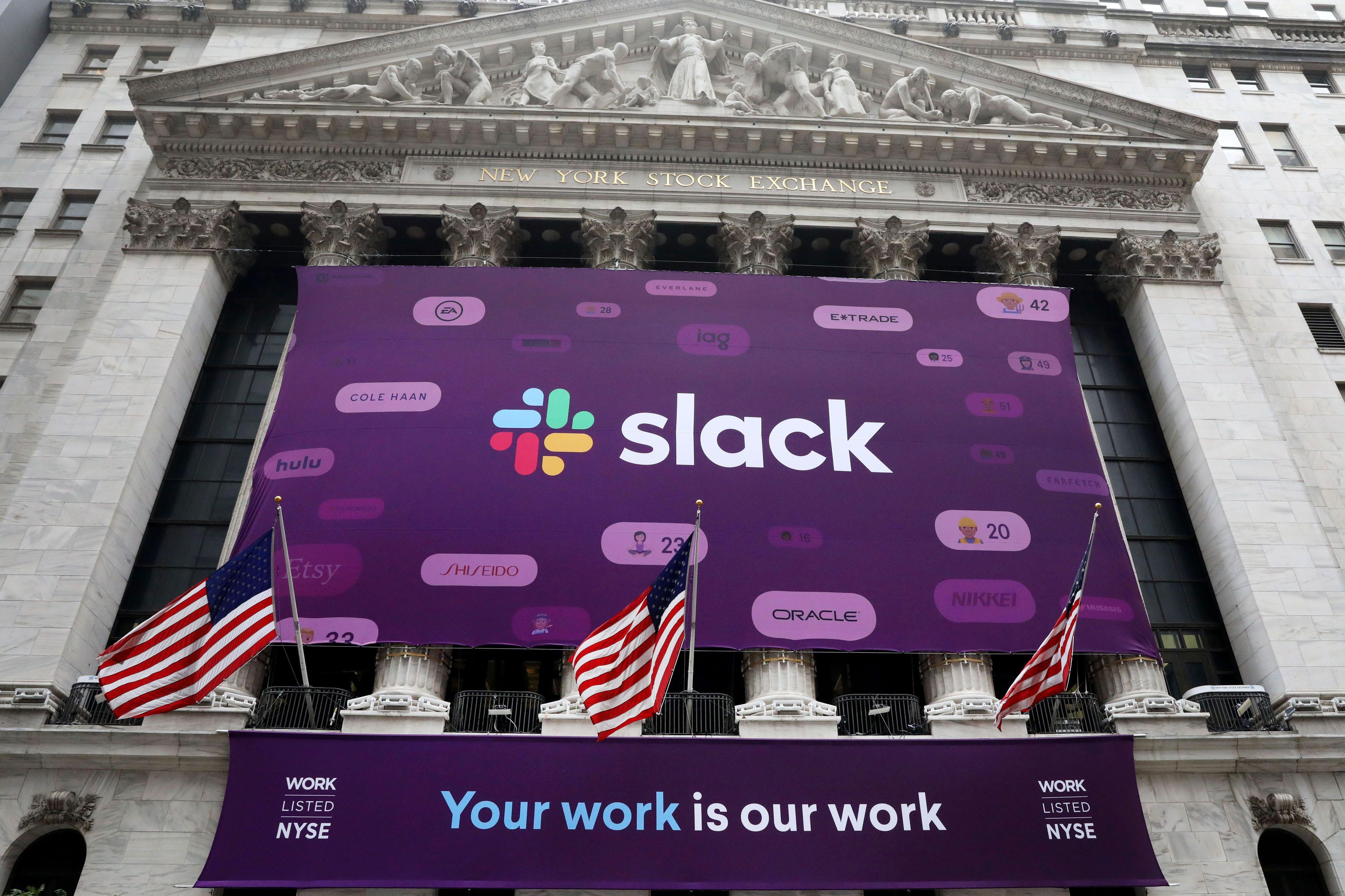 The Slack Technologies logo is seen on a banner outside