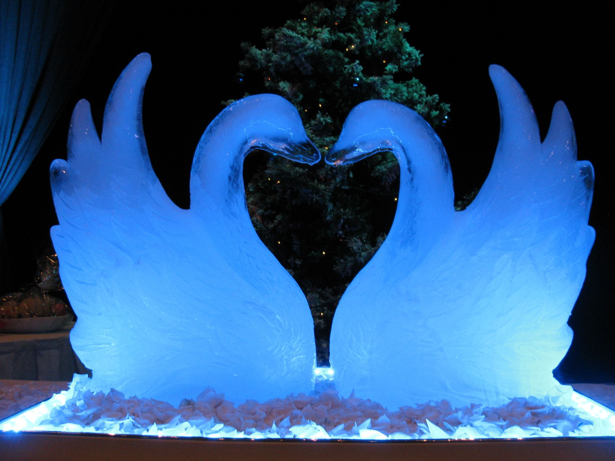 Swan pair Ice sculptures, Ice art, Snow sculptures