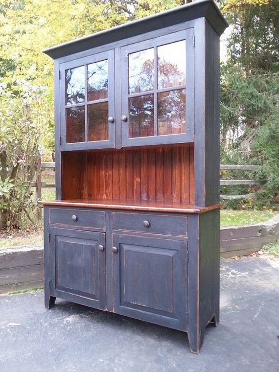CUSTOM HAND BUILT RECLAIMED WOODEN CHINA CABINET WITH HUTCH 78 X 62 X 18 (3