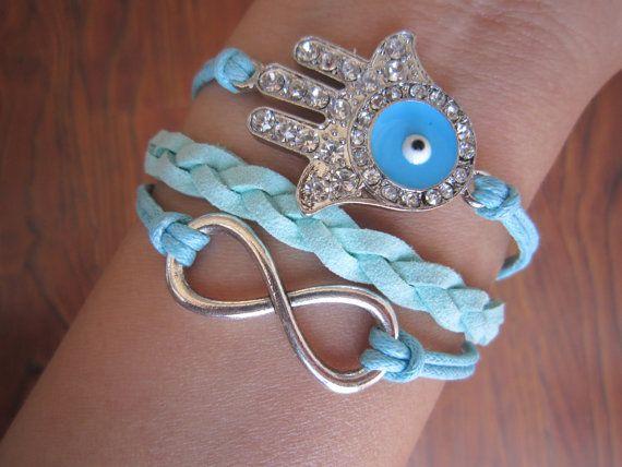 Combined Bracelet Vintage Silver Infinity Bracelet Hamsa by LDnest, $7.99