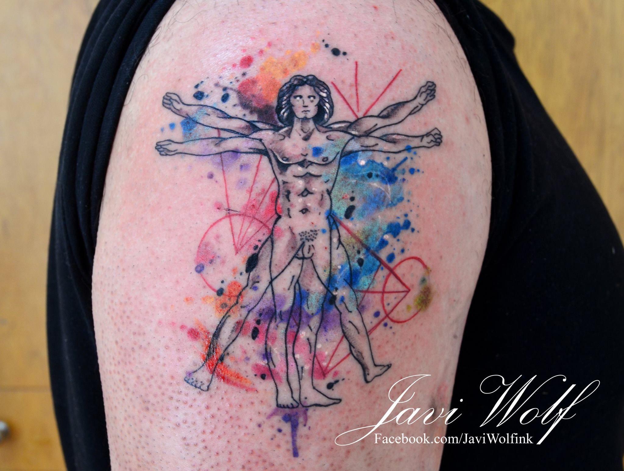 Hombre Vitruvio Acuareloso Tattooed By Javiwolfink Tattoos Tattoo Designs For Women Tattoo Designs