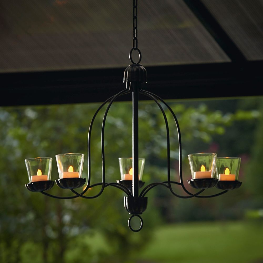 Candle chandelier votive metal tealight gazebo outdoor light glass hanging votive chandelier for outdoor living space patio deck porch backyard add elegance and warm soft glow with decorative lighting aloadofball Choice Image