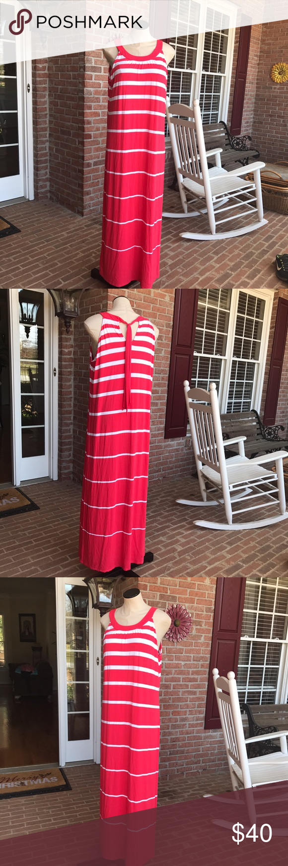 Cynthia Rowley maxi dress Pretty and comfortable maxi dress by Cynthia Rowley. Coral-ish/dark pink with white stripes. Ties around back of neck. In pristine condition 💝 Cynthia Rowley Dresses Maxi
