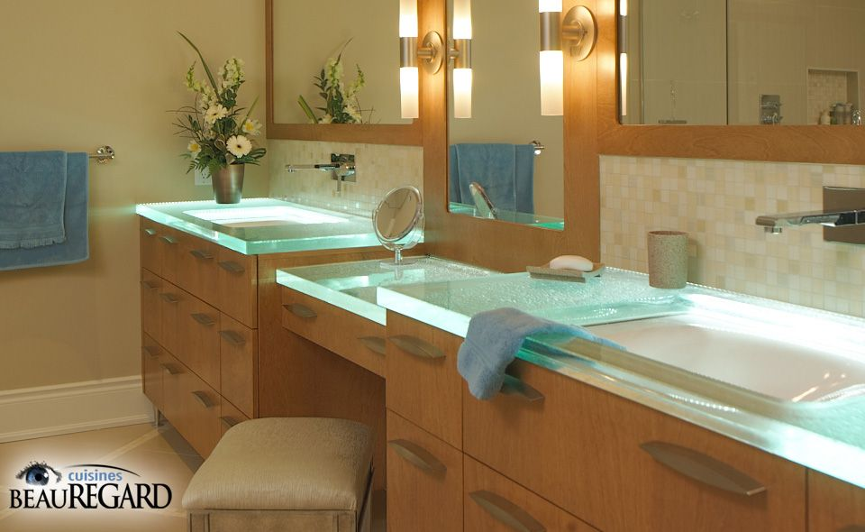 The Best Countertop For The Bathroom. Glass Countertops Cannot Be Stained.  ThinkGlass Brings Our Glass Art To Life In Bathroom Glass Countertops, ...