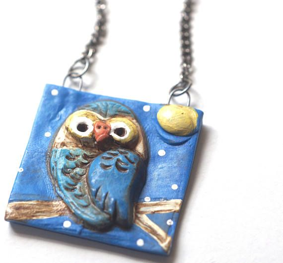 Blue moon owl square polymer clay pendant necklace original art by blue moon owl square polymer clay pendant necklace original aloadofball Images