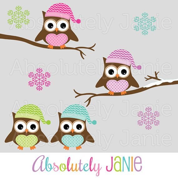 Winter Owls Clipart Holiday Christmas Digital Clip Art Colorful Snowflakes Chevron Winter Owl Scrapbook Background Origami Owl Business