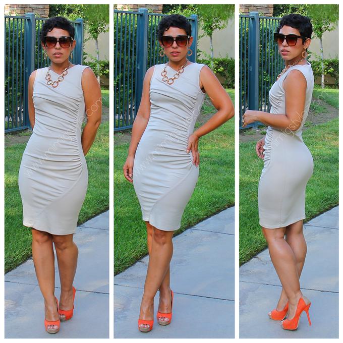 Mimi g white dress gold