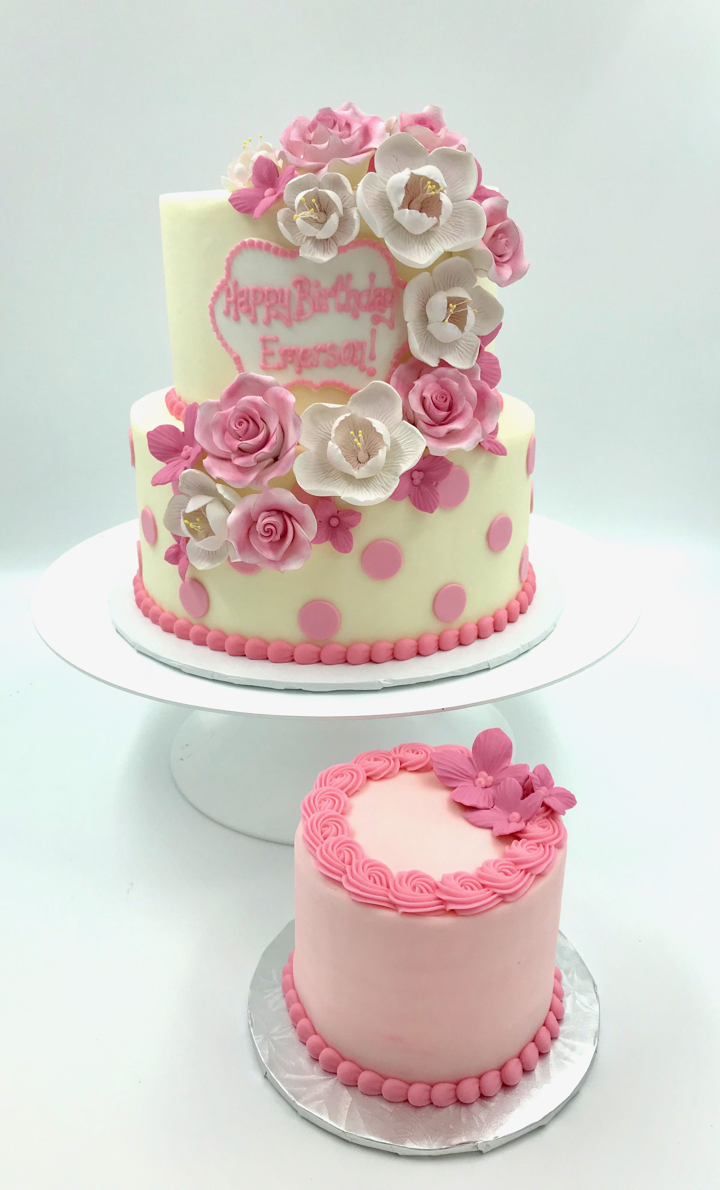2 Tier Pink And White Floral Cake Perfect For Birthdays For Girls Of All Ages This Could Also B Birthday Cakes For Women Tiered Cakes Birthday Cakes For Women