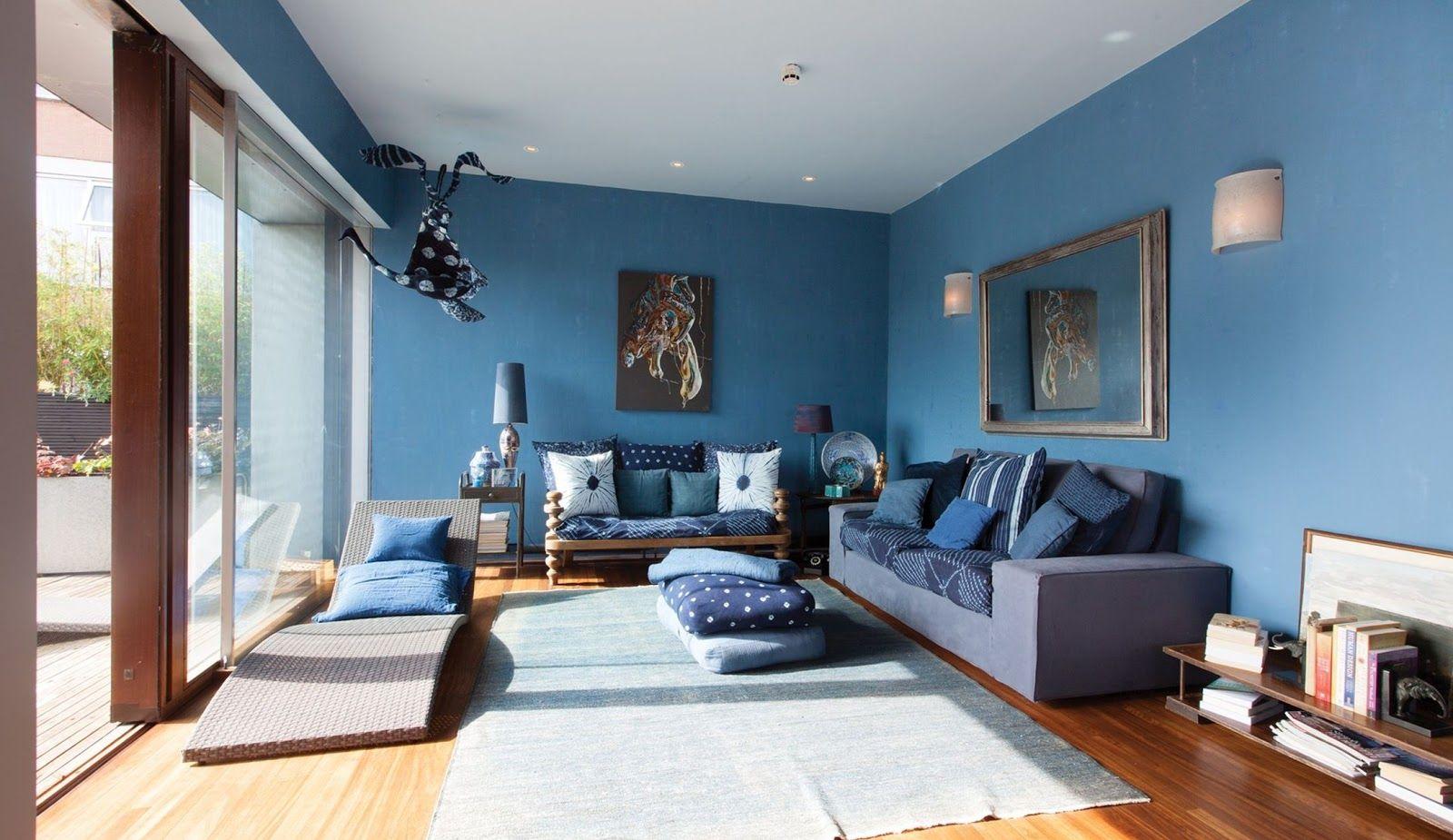 Room Living Decorating Ideas Blue Color Theme