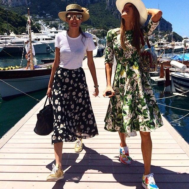 Capri street style ? @anna_dello_russo and I , for the @dolcegabbana Alta Moda show tonight ! @stefanogabbana