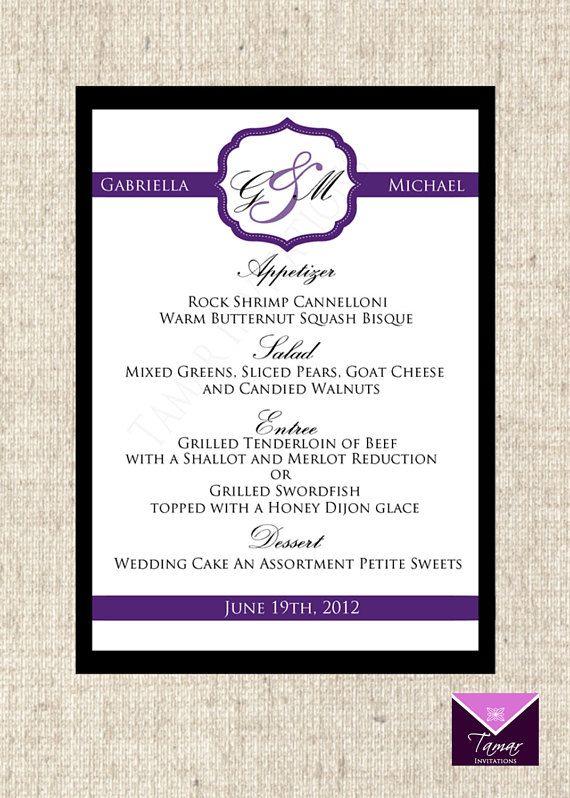 Printable Menu Card For Wedding Shower Dinner Party Custom You