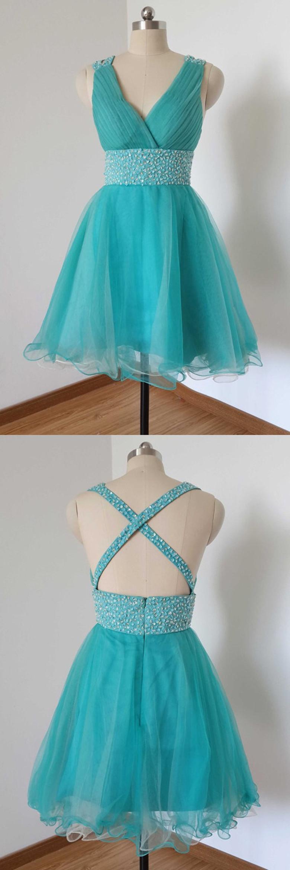 Fancy vneck aline knee length tulle lake blue homecoming dress