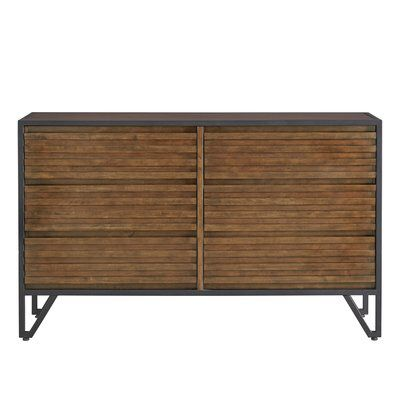 Lund Stacked Wood 6 Drawer Double Dresser Cherry Wood