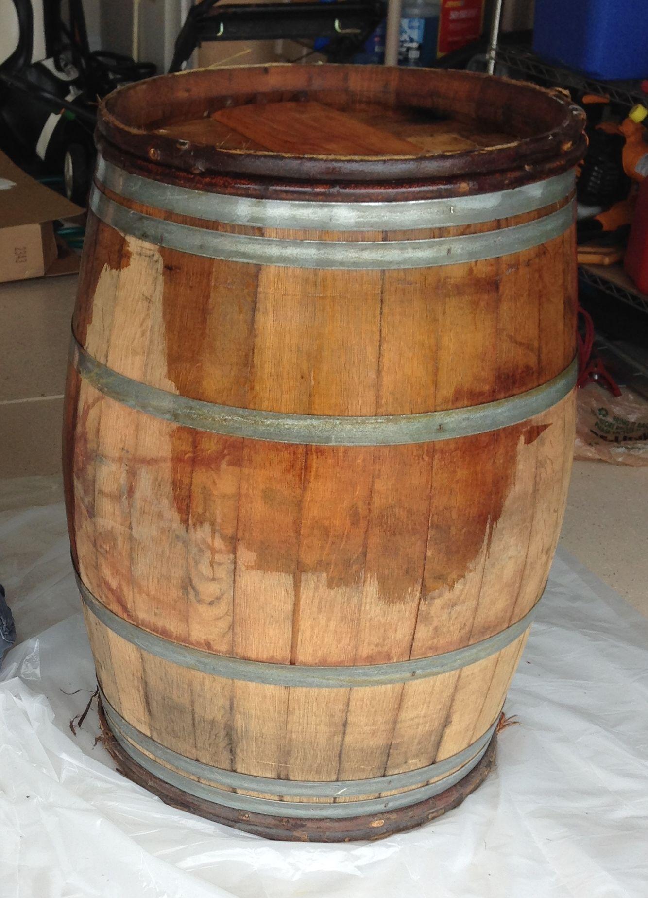 Adding A Clear Coat Of A Satin Polyurethane Sealant To The Wine Barrel Wine Room Wine Barrel Whiskey Barrel