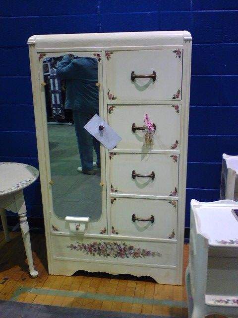 Distressed Vintage Bedroom Inspiration: Vintage Painted Shabby Chic Armoire Wardrobe Chi