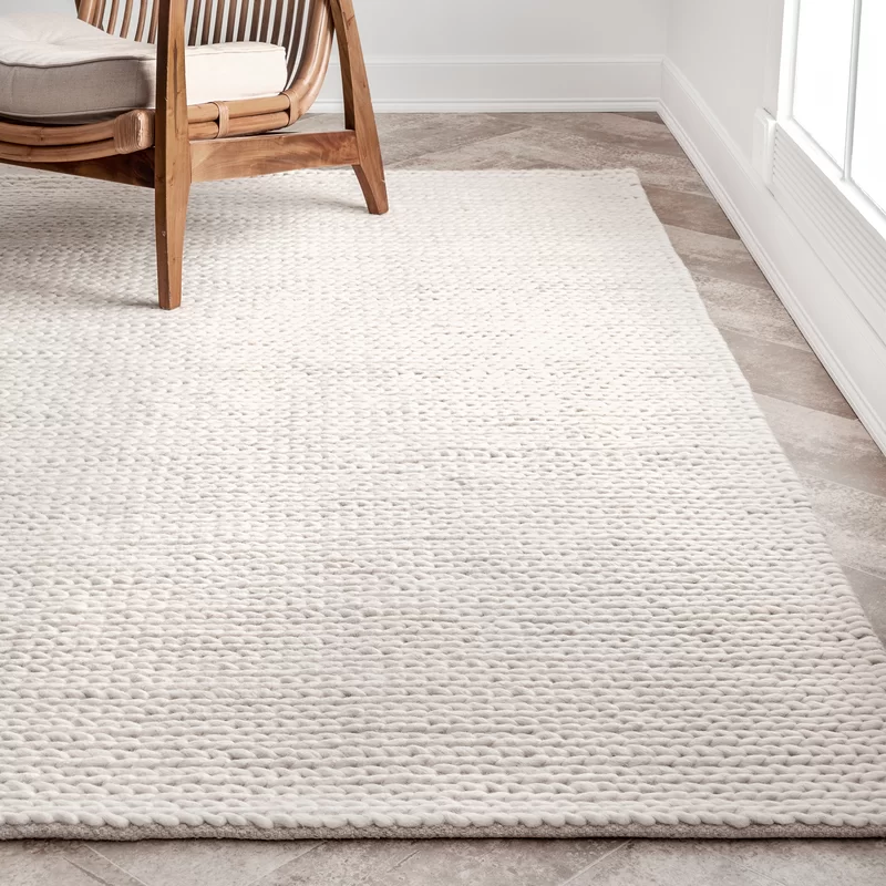 Langley Street Arviso Handmade Braided Wool Off White Area Rug Birch Lane Rugs In Living Room Rugs On Carpet Area Room Rugs