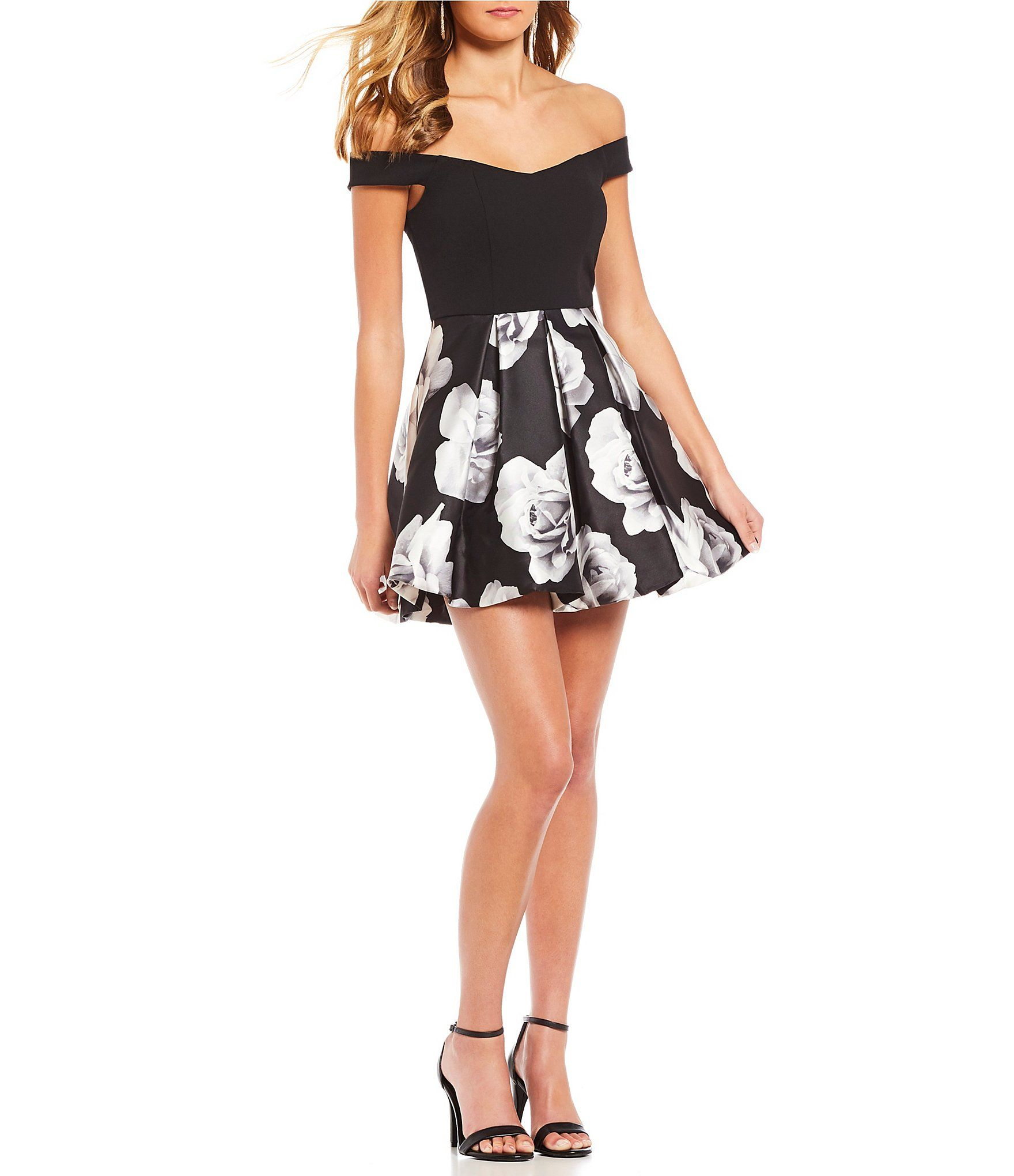 Xtraordinary offtheshoulder floral print fitandflare dress