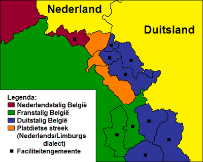 Schematic map of the Low Dietsch language area Platdietse streek