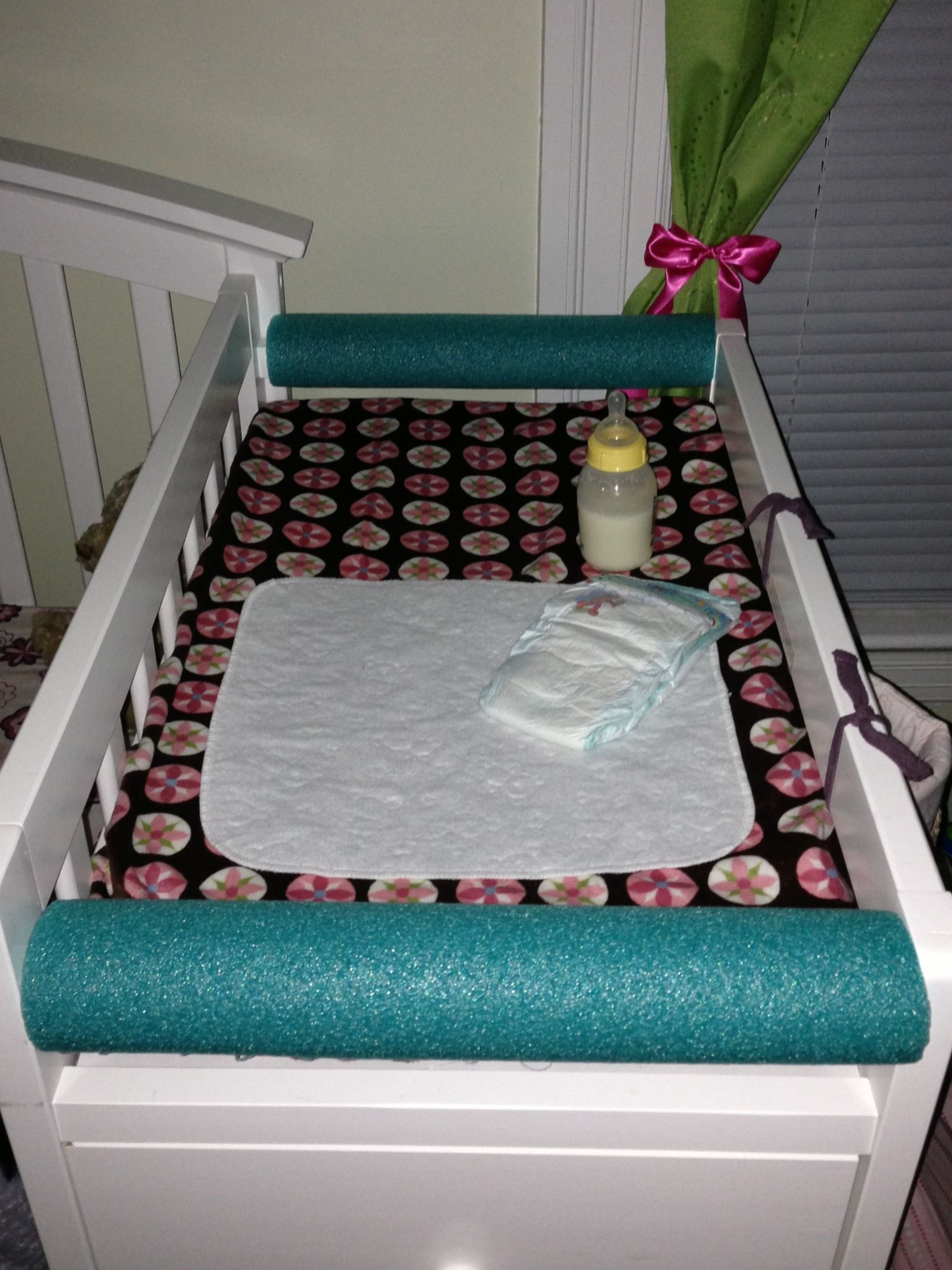 Pool Noodle Bumpers For The Changing Table Keeps Baby Girl From