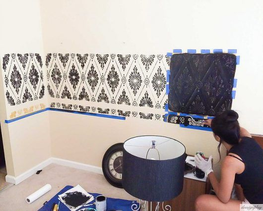 Marvelous Stenciled Damask Wallpaper In A Master Bedroom   Stencil Stories